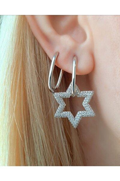 925 Ayar Gümüş Taşlı Yıldız Küpe