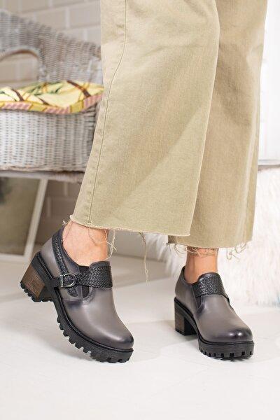 Gri Cilt Kadın Örgü Kemerli Ayakkabı Md1045-115-0005