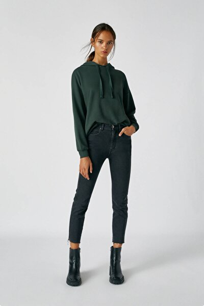 Kadın Siyah Comfort Slim Fit Mom Jean 05682305