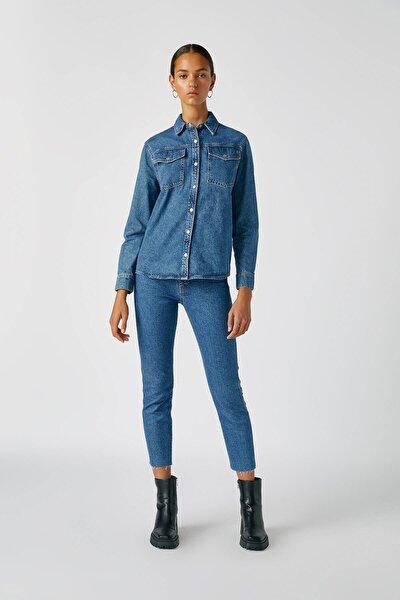 Kadın Mavi Comfort Slim Fit Mom Jean 05682305
