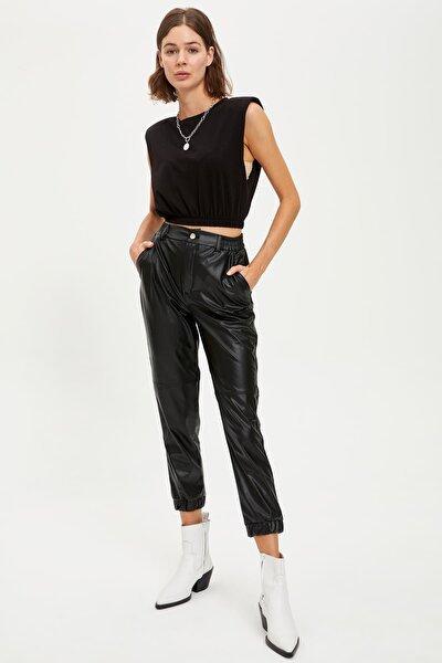 Kadın Black Red Suni Deri Jogger Pantolon R6071AZ20AU