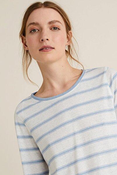 Kadın Mavi Keten Karışımlı Çizgili T-Shirt T41006571