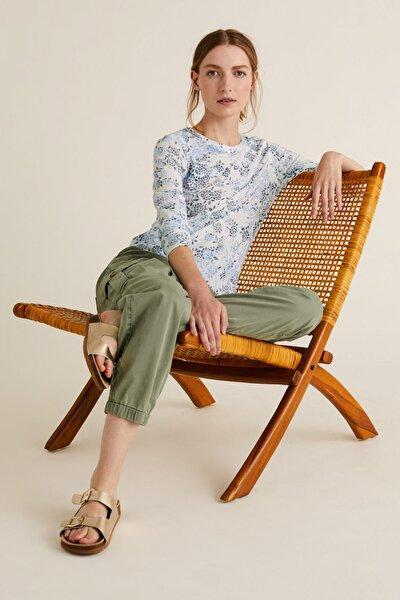 Kadın Bej Keten Karışımlı Desenli T-Shirt T41006561