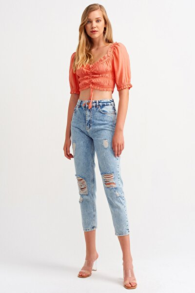 4146 Lazerli Mom Pantolon-tint