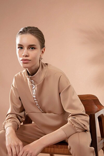Kadın Dik Yaka Fermuarlı Sweatshirt Y20w166-3456