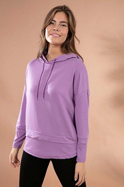 Kadın Fitilli Tişört Detaylı Kapşonlu Örme Sweatshirt Y20w175-9372