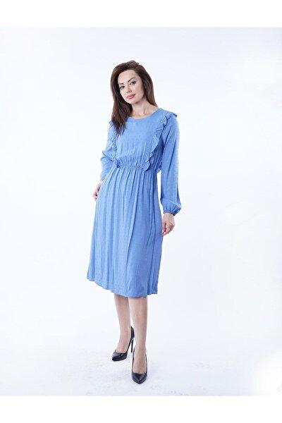 Kadın İndigo Fırfırlı Noktalı Elbise Y-5927