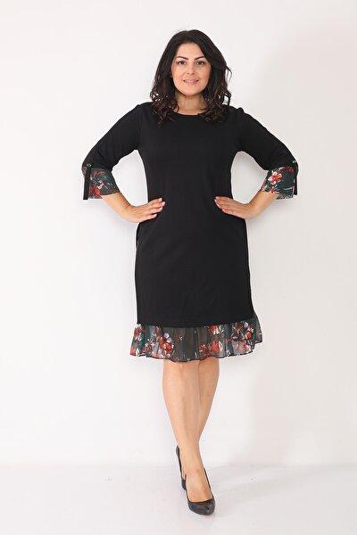 Etek Ucu Ve Kol Kısmı Desenli Elbise