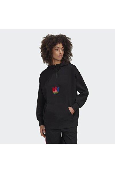 Kadın Siyah Halfzıp Hoodıe  Spor Sweatshirt