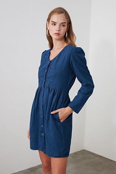 Indigo Düğme Detaylı Kadife Elbise TOFAW19ST0191