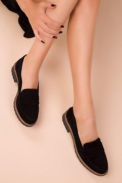 Siyah Süet Kadın Casual Ayakkabı 15471