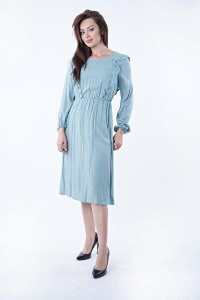Kadın  Mint Fırfırlı Noktalı Elbise Y-5927