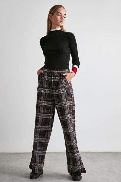 Siyah Ekose Örme Pantolon TWOAW21PL0092
