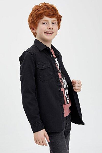 Erkek Çocuk Kolu Katlanabilir Jean Gömlek