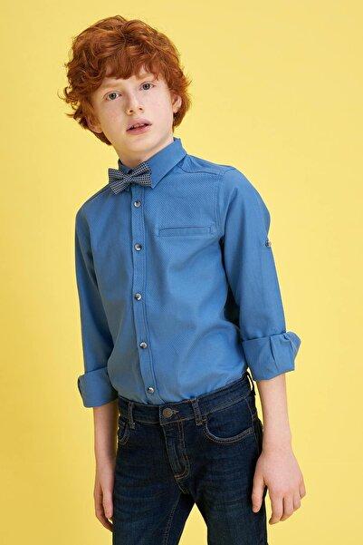 Erkek Çocuk Papyonlu Pamuklu Kolları Katlanabilir Gömlek