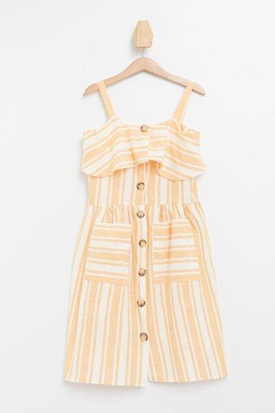 Çizgili Düğmeli Dokuma Elbise