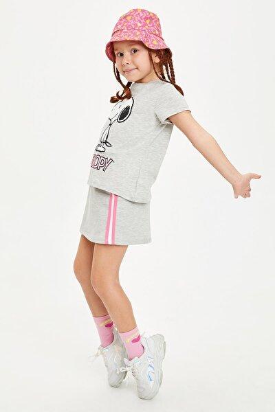 Kız Çocuk Snoopy Lisanslı T-shirt Etek Takım