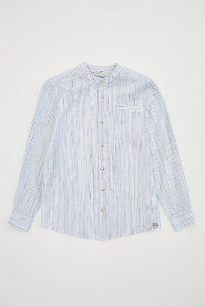Erkek Çocuk Desenli Keten Görünümlü Uzun Kollu Gömlek M4545A620SPB
