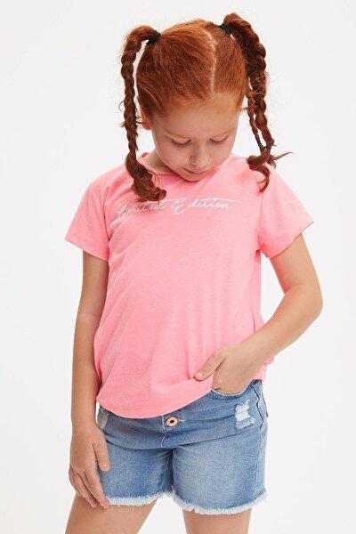 Kız Çocuk Yazı Baskılı Kısa Kollu T-shirt