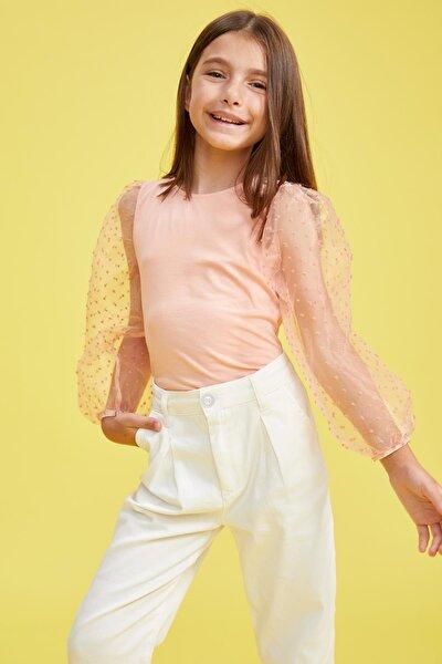 Kız Çocuk Balon Kol Tişört