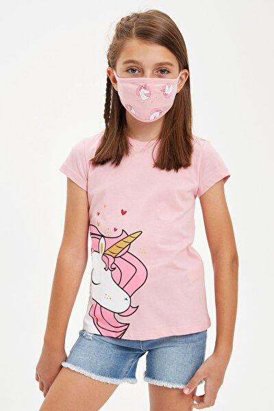 Kız Çocuk Unicorn Baskılı Tişort Ve Maske Takım