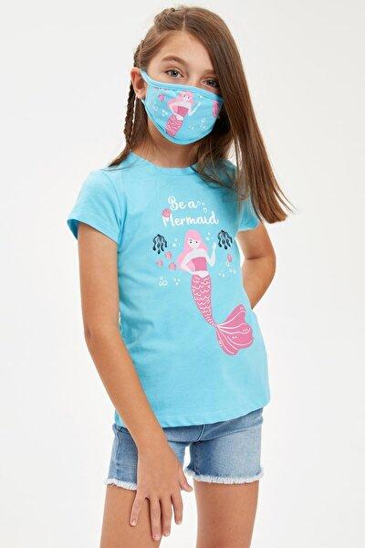 Kız Çocuk Mermaid Baskılı Tişört Ve Maske Takım