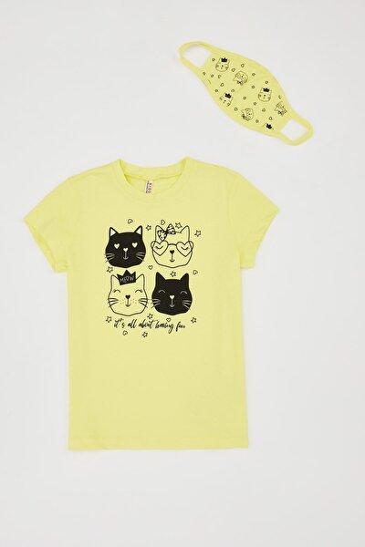 Kız Çocuk Lovely Cats Baskılı Tişört Ve Maske Takım