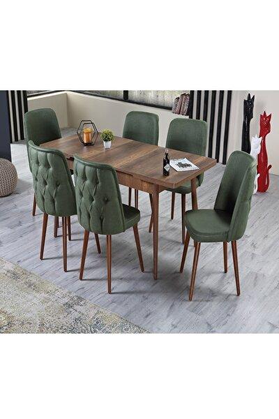 Venüs Premier Yeşil 6 Sandalyeli Yemek Masa Takımı