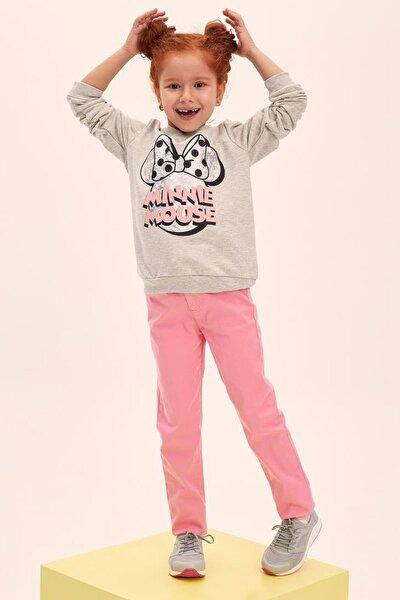 Pembe Kız Çocuk Slim Fit Gabardin Pantolon