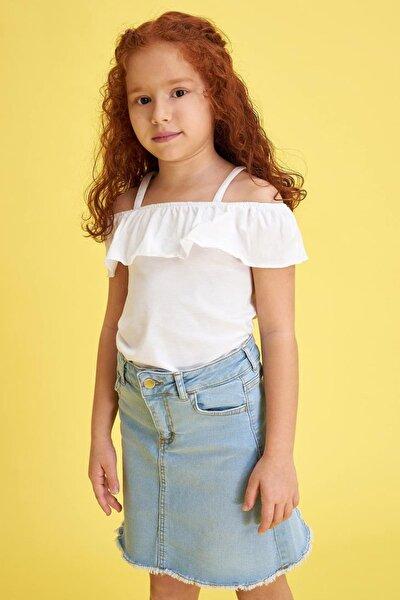 Kız Çocuk Askılı Fırfırlı Bluz