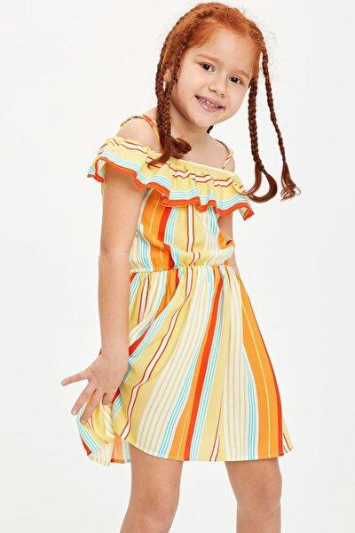 Kız Çocuk Çizgili Beli Büzgülü Dokuma Elbise