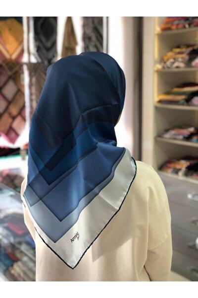 Kadın Mavi Nostalji Desen Eşarp