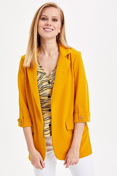 Kadın Sarı Kolları Düğmeli Ceket L1971AZ.19SM.YL276