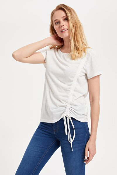 Kadın Ekru Leopar Desenli T-shirt L4122AZ.19SM.ER105