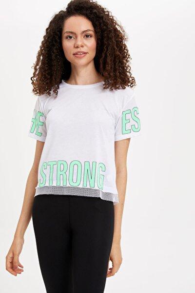 Kadın Beyaz Baskılı Kısa Kollu T-shirt L5508AZ.19HS.WT34