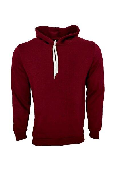 Unisex Bordo Basic Kapüşonlu Sweatshirt
