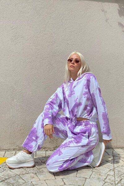 Kadın Mor Batik Desenli Yüksek Bel Kapüşonlu Eşofman Takımı