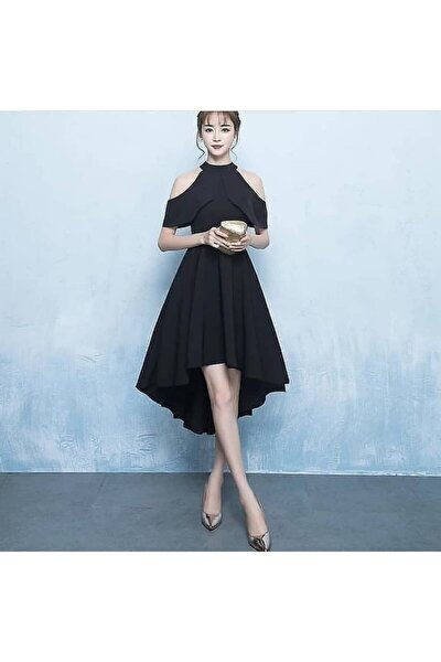 Kadın Siyah Asimetrik Kesim Omuz Dekolteli Midi Elbise