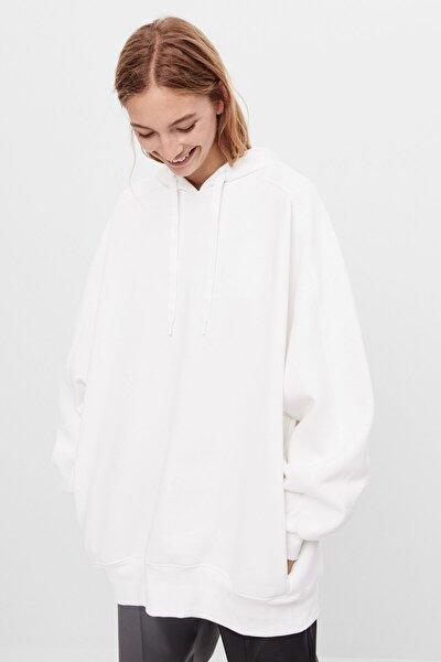 Kadın Krem Kapüşonlu Oversize Sweatshirt