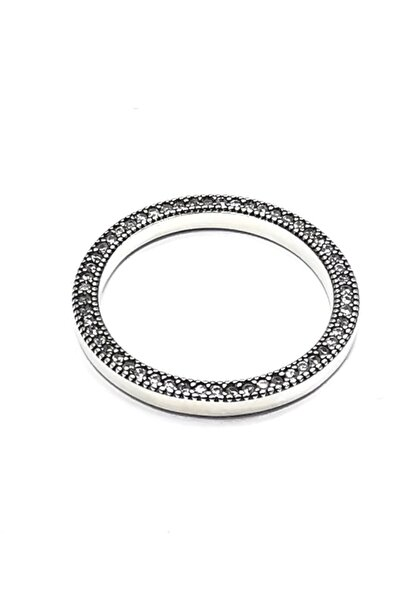 Silver Kadın Kalpli Yan Yüzey Zirkon Taşlı Ithal Rodyumlu Gümüş Yüzük