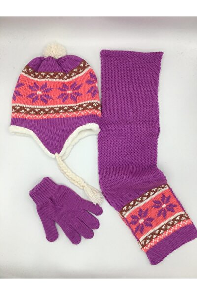 Kız Çocuk Atkı-bere-eldiven Seti