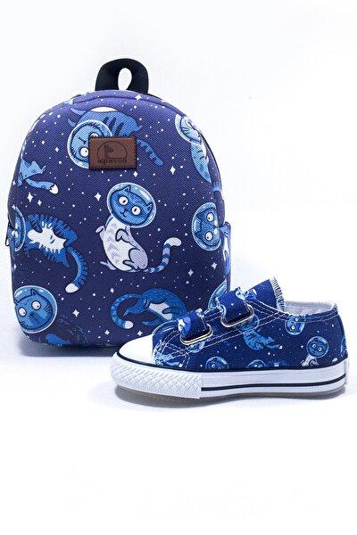 Unisex Çocuk Mavi Çantası & Ayakkabı Takımı