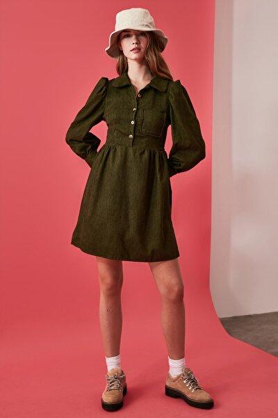 Haki Düğme Detaylı Kadife Elbise TWOAW21EL0140