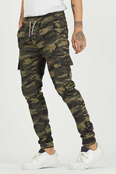 Erkek Beli Ve Paçası Lastikli Kargo Cep Kamuflaj Pantolon
