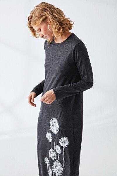 Kadın Antrasit Baskılı Natürel Elbise