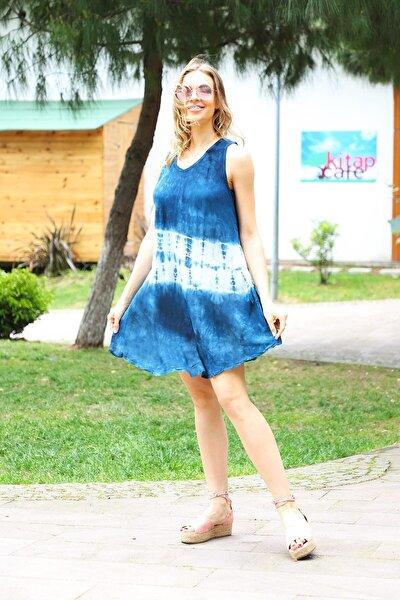 Kadın Lacivert Kısa Çan Batik Plaj Elbisesi