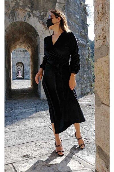 Kadın Siyah Kadife Elbise