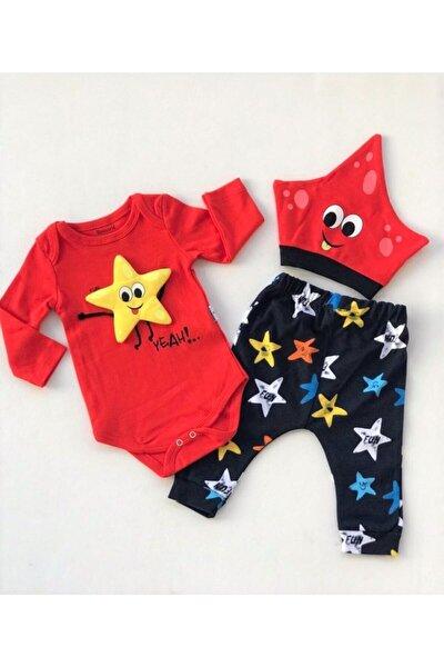 Bebek Kırmızı Yıldız Oyuncaklı Şapkalı Set