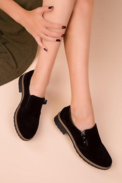 Siyah Süet Kadın Casual Ayakkabı 15472