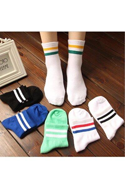 6' Lı Paket Renkli Çizgili Pamuklu Kolej Tenis Çorap